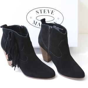 Steve Madden CIAN Black Suede Booties with Fringe